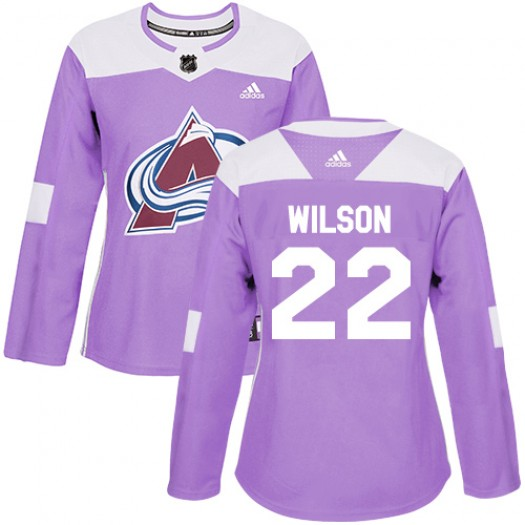 Colin Wilson Colorado Avalanche Women's Adidas Authentic Purple Fights Cancer Practice Jersey