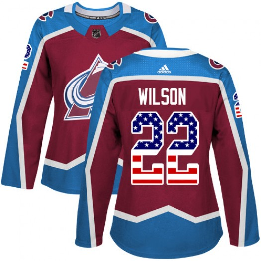 Colin Wilson Colorado Avalanche Women's Adidas Authentic Red Burgundy USA Flag Fashion Jersey