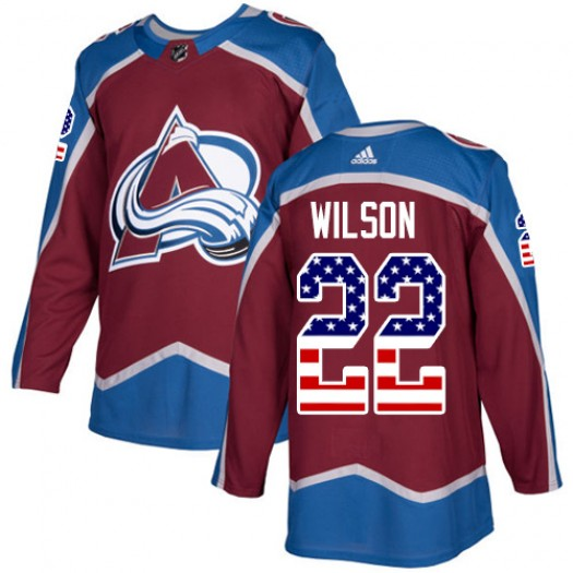 Colin Wilson Colorado Avalanche Youth Adidas Authentic Red Burgundy USA Flag Fashion Jersey