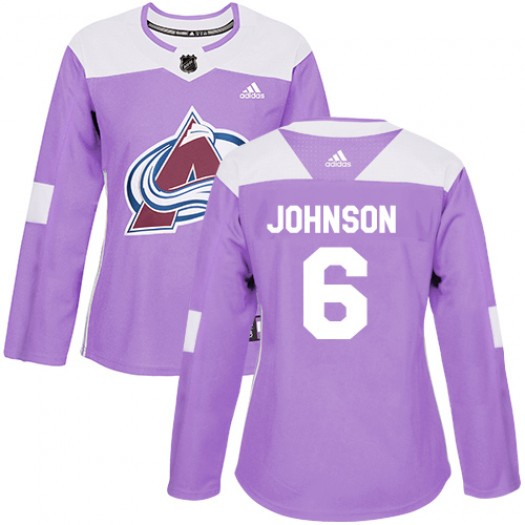 Erik Johnson Colorado Avalanche Women's Adidas Authentic Purple Fights Cancer Practice Jersey