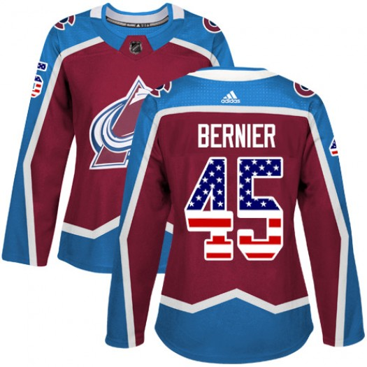 Jonathan Bernier Colorado Avalanche Women's Adidas Authentic Red Burgundy USA Flag Fashion Jersey