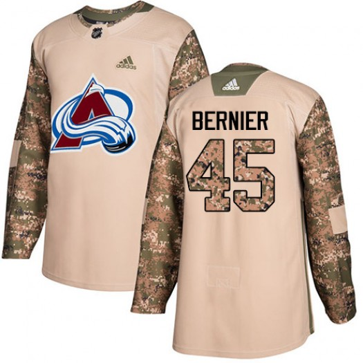 Jonathan Bernier Colorado Avalanche Youth Adidas Authentic Camo Veterans Day Practice Jersey