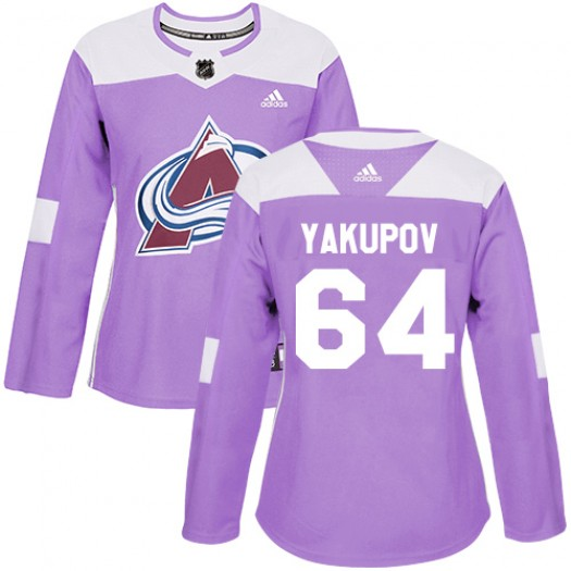 Nail Yakupov Colorado Avalanche Women's Adidas Authentic Purple Fights Cancer Practice Jersey