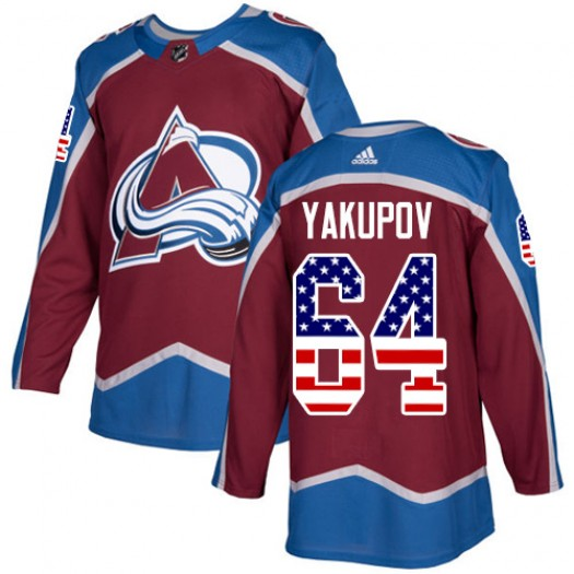 Nail Yakupov Colorado Avalanche Men's Adidas Authentic Red Burgundy USA Flag Fashion Jersey