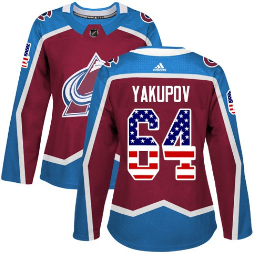Nail Yakupov Colorado Avalanche Women's Adidas Authentic Red Burgundy USA Flag Fashion Jersey