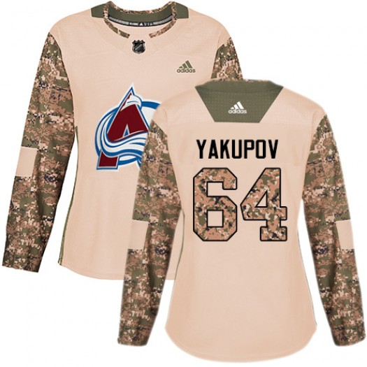 Nail Yakupov Colorado Avalanche Women's Adidas Authentic Camo Veterans Day Practice Jersey