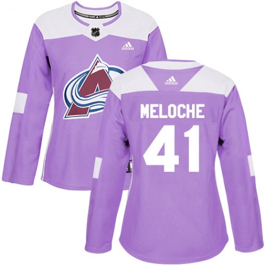 Nicolas Meloche Colorado Avalanche Women's Adidas Authentic Purple Fights Cancer Practice Jersey